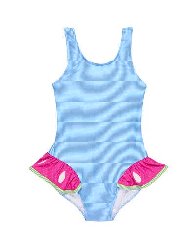 Stripe One-Piece Swimsuit w/ Watermelon Ruffle, Size 2-6X