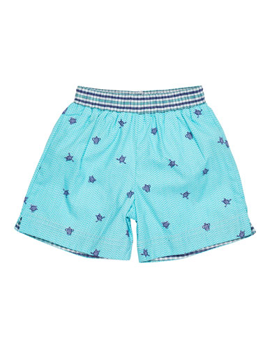 Turtle-Print Swim Trunks, Size 2-4