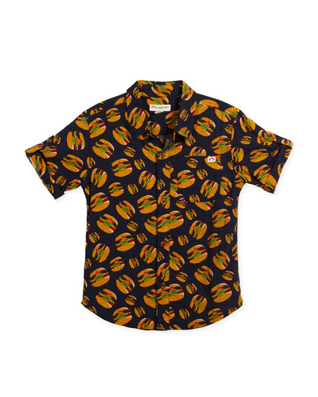 Appaman Short-Sleeve Button-Down Burger Shirt, Size 2-10
