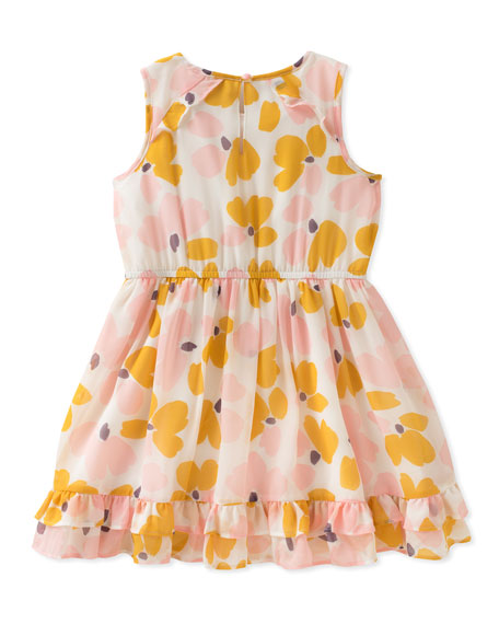 Ruffle-Hem Floral Sleeveless Dress, Size 2-6