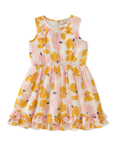 Ruffle-Hem Floral Sleeveless Dress, Size 2-6