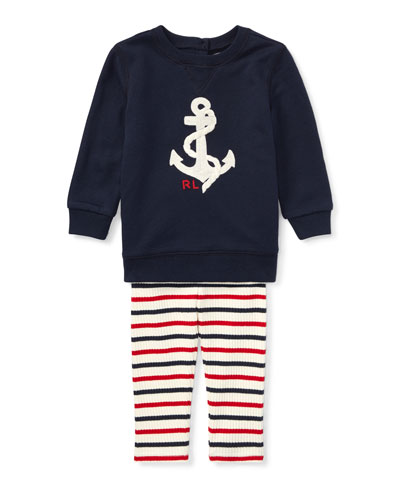 Atlantic Terry Anchor Sweatshirt w/ Striped Leggings, Size 6-24 Months