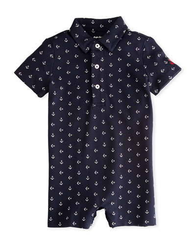 Mesh Anchor-Print Polo Shortall, Size 3-18 Months