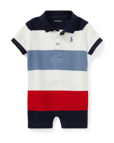 Mesh Striped Polo Shortall, Size 3-18 Months