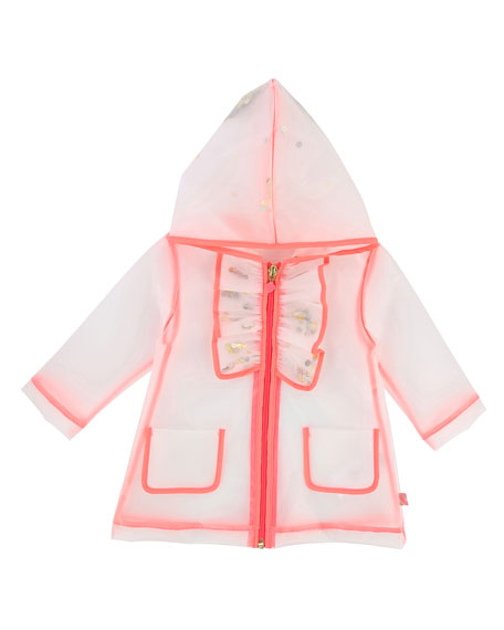 Transparent Sequin Raincoat, Size 2-3