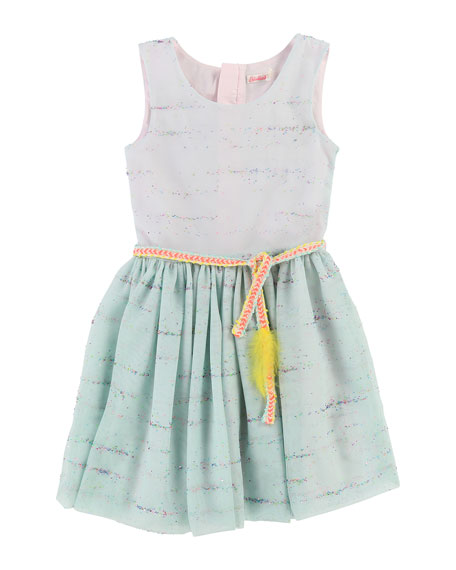 Sleeveless Tulle Glitter Dress w/ Braided Belt, Size 4-8