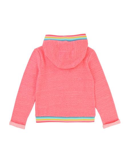 Zip-Up Hoodie w/ Rainbow Ribbed Trim, Size 2-8