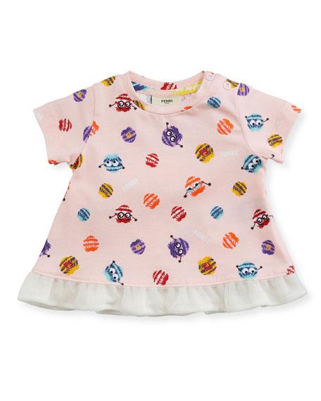 Fendi Girls' Short-Sleeve Pompom Monster Graphic T-Shirt, Size