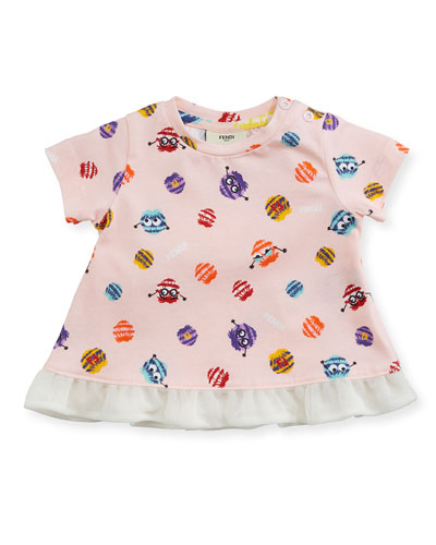Girls' Short-Sleeve Pompom Monster Graphic T-Shirt, Size 12-24 Months