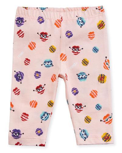 Girls' Monster Pompom Graphic Leggings, Size 3-9 Months