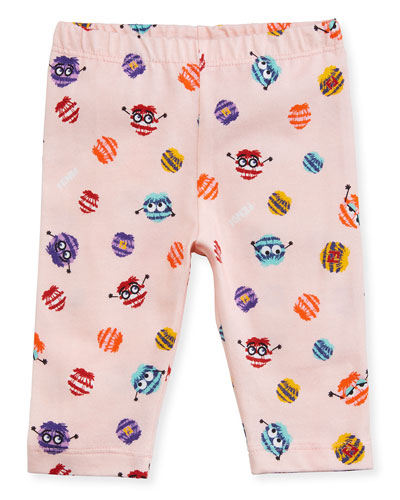 Girls' Monster Pompom Graphic Leggings, Size 12-24 Months