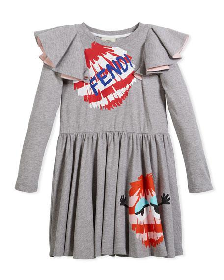 Fendi Long-Sleeve Ruffle Jersey Dress w/ Monster Pompom