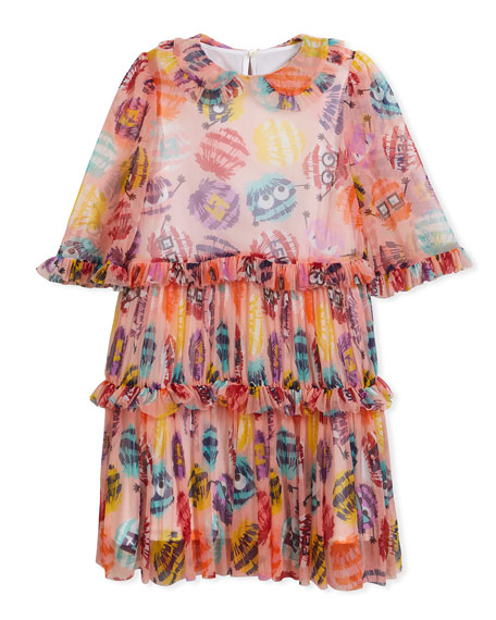 Collared Dress w/ Monster Pompom Print, Size 10-14