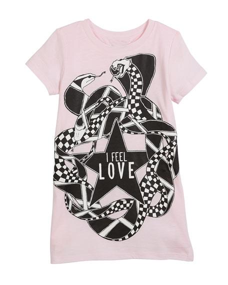 I Feel Love Snakes Jersey Shirt Dress, Size 6-10