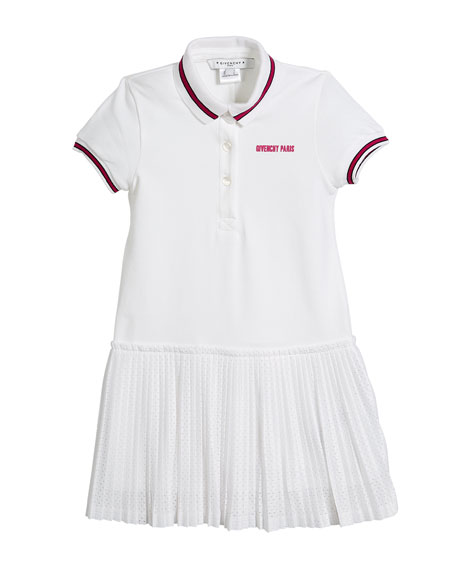Pique Polo Dress w/ Pleated Mesh Skirt, Size 4-5