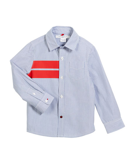 Striped Button-Down Shirt w/ Red Details, Size 6-10
