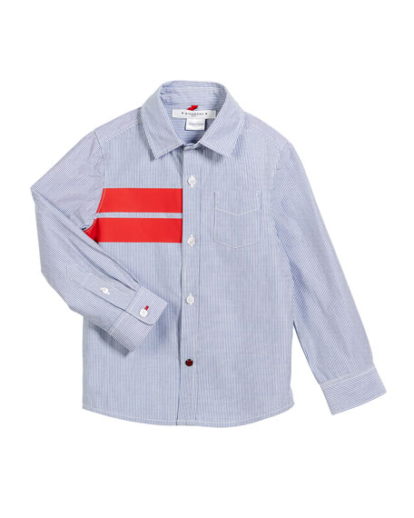 Striped Button-Down Shirt w/ Red Details, Size 12