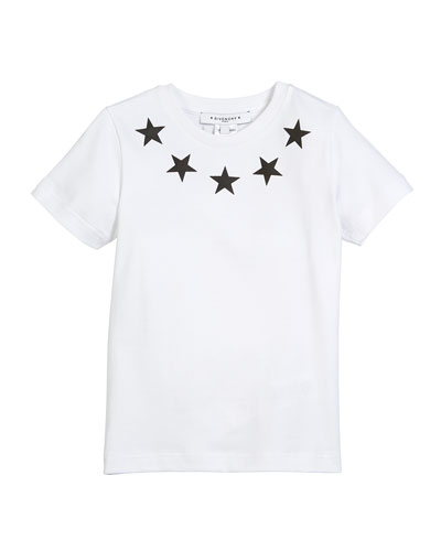 Short-Sleeve Stars-Collar Cotton T-Shirt, Size 4-5