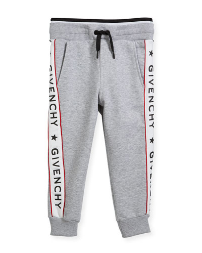 Cotton-Blend Jersey Sweatpants w/ Logo Sides, Size 6-10