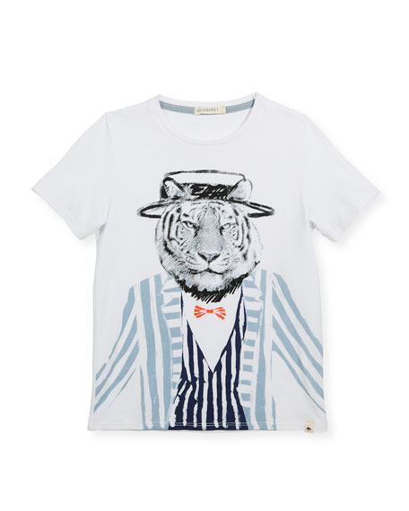 Cotton T-Shirt w/ Tiger Graphic, Size 2-8