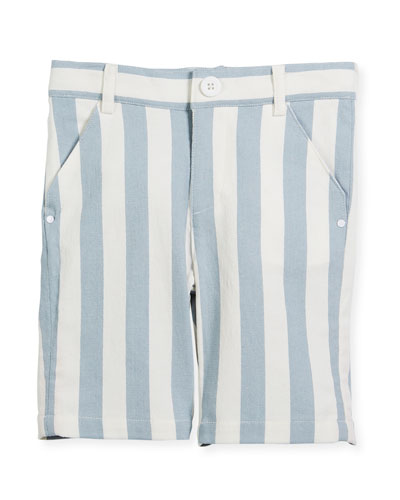 Striped Twill Bermuda Shorts, Size 2-8