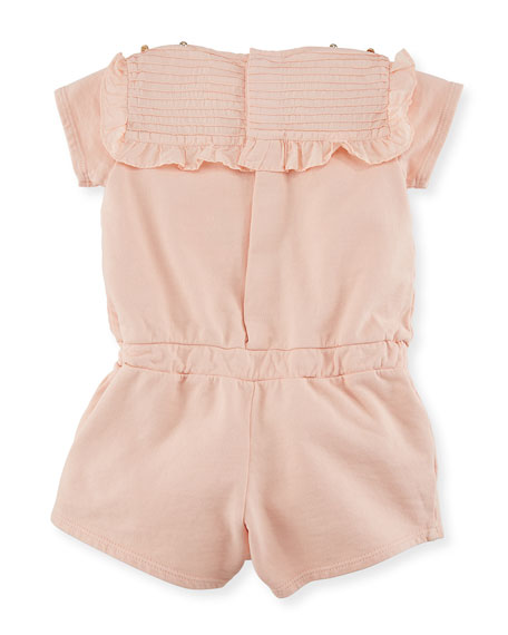 Pintucked Jersey Romper w/ Ruffles, Size 6-18 Months