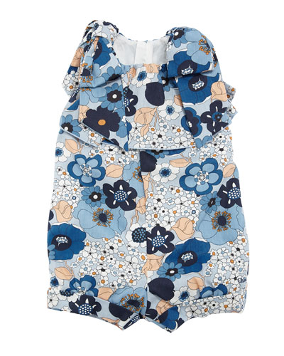 Allover Flower-Print Playsuit w/ Bow Shoulders, Size 6-18 Months