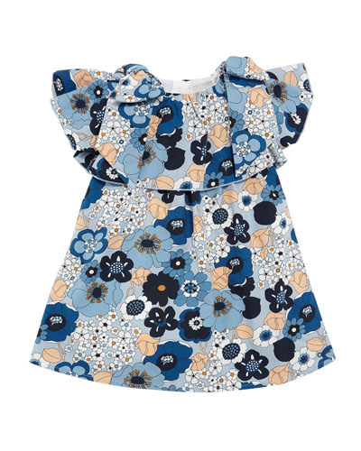 Allover Floral Bow-Shoulder Dress, Size 2-3