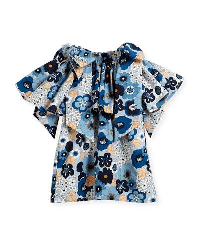 Mini Me Floral Bow-Shoulder Dress, Sizes 4-5