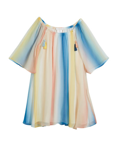 Mini Me Rainbow Silk Dress, Size 6-10