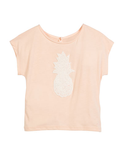 Pineapple Embroidery Short-Sleeve T-Shirt, Size 4-5