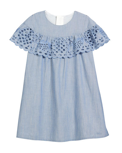 Strawberry Eyelet Ruffle Dress, Size 12-14