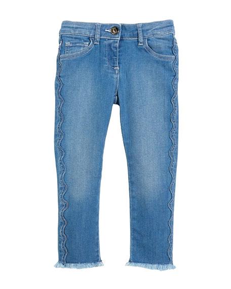 Raw-Hem Scallop Denim Jeans, Size 4-5