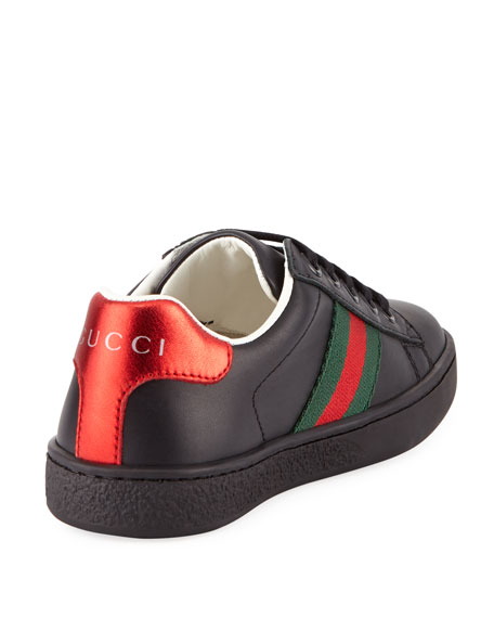 New Ace Web-Trim Leather Sneaker, Kids' Sizes 10T-2Y