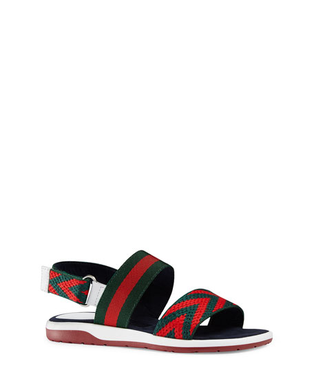 Gucci Chevron Leather Sandal, Green/Red, Youth