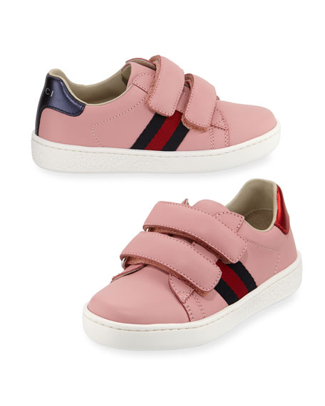 Gucci New Ace Web-Trim Leather Sneaker, Toddler