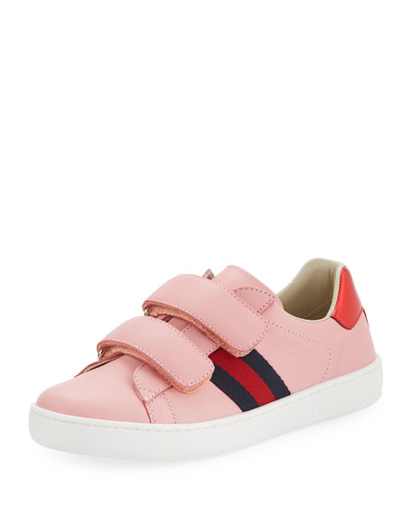 NEW ACE WEB-TRIM LEATHER SNEAKER, TODDLER/YOUTH SIZES 10T-2Y