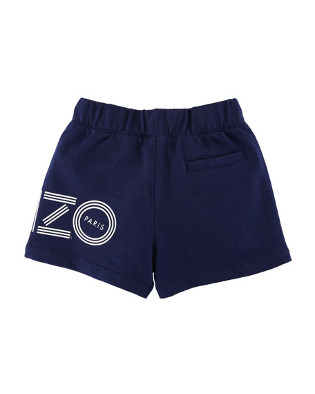 Cotton Drawstring Shorts w/ Logo Detail, Size 12-18 Months