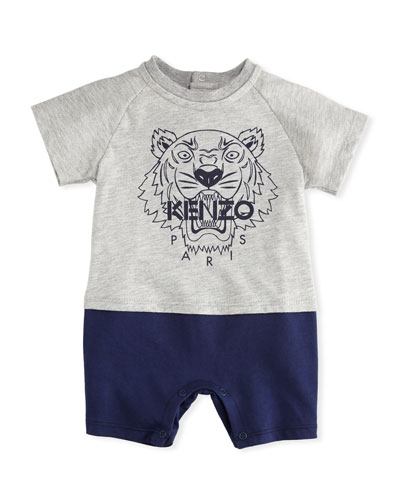 Two-Tone Jersey Romper w/ Tiger Head Logo, Gray, Size 3-18 Months