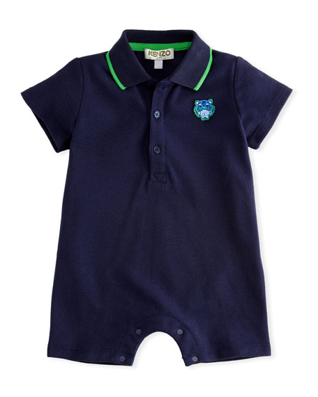 Pique Polo Romper, Navy, Size 3-18 Months