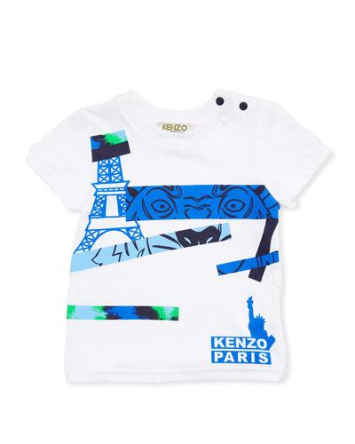 Tiger Eye Graphic T-Shirt, White, Size 2-3