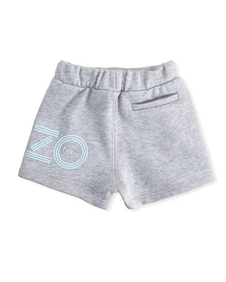 Cotton Drawstring Shorts w/ Logo Detail, Gray, Size 12-18 Months