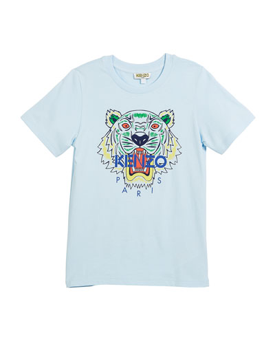Short-Sleeve Logo Tiger Face T-Shirt, Size 14-16