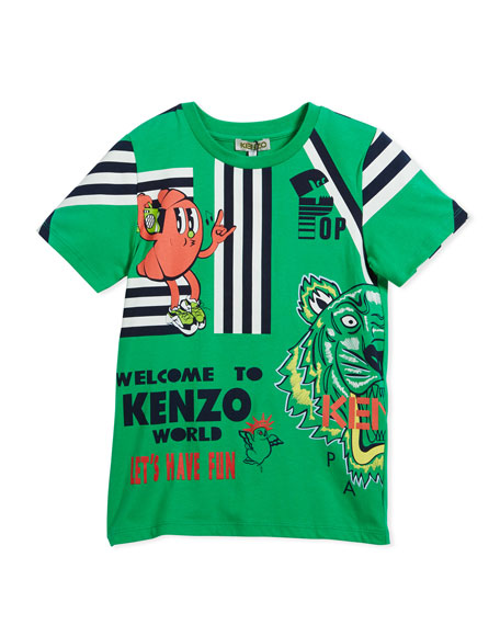 Multi-Food Icon Tiger Striped T-Shirt, Green, Size 8-12