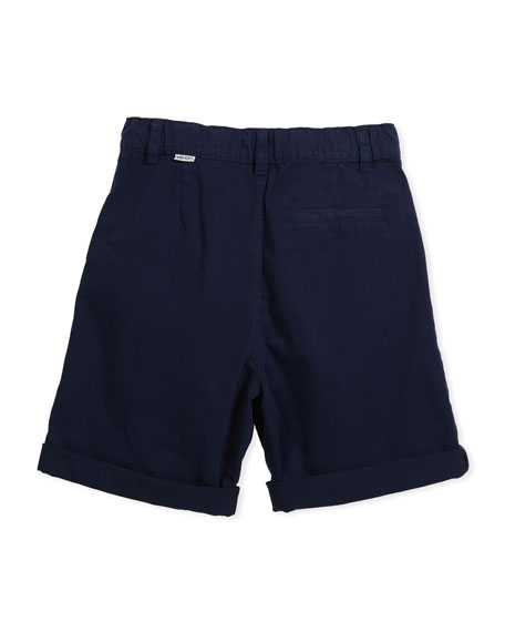 Chino Shorts w/ Logo Pockets, Navy, Size 8-12