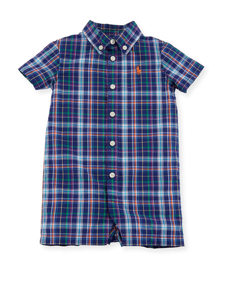 Madras Oxford Plaid Shortall, Size 3-18 Months