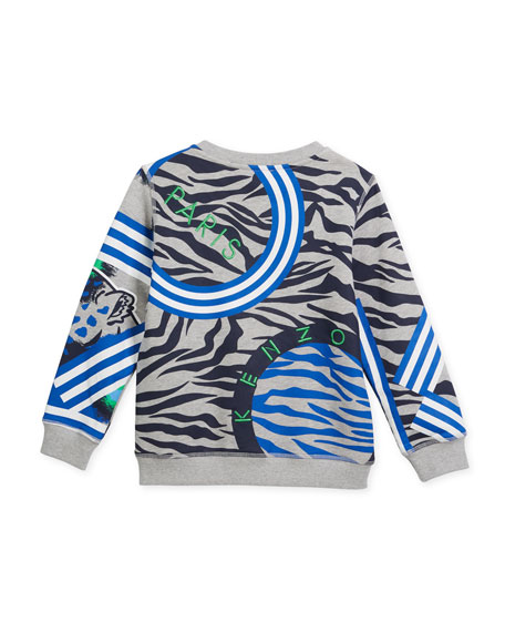 388a4389 Kenzo Multi-Icon Tiger Striped Sweatshirt, Gray, Size 4-6