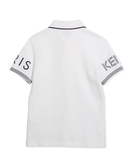Short-Sleeve Polo w/ Logo Details, White, Size 14-16