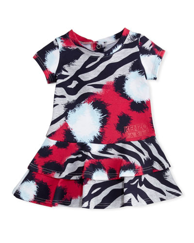 Animal-Print Tiered Dress, Pink, Size 12-18 Months