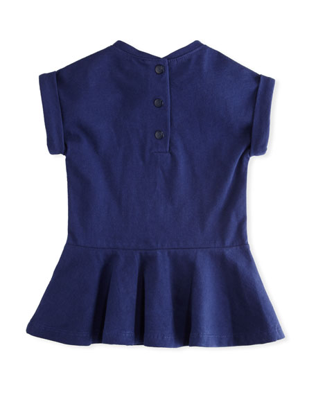 Tiger Face Drop-Waist Dress, Navy, Size 12-18 Months